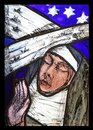 Saint Hildegard of Bingen, stained glass window in Benediktbeuern Abbey, Germany Royalty Free Stock Photo