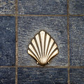 Saint james way shell golden metal on streets santiago pilgrims st Royalty Free Stock Photo