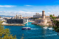 Saint Jean Castle and Cathedral de la Major in Marseille Royalty Free Stock Photo
