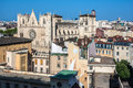 Saint jean cathedral in lyon city france panorama of a roofs of with the Stock Image