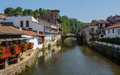 Saint jean pied de port the river nive in france Royalty Free Stock Images