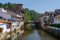 Saint jean pied de port the river nive in france Royalty Free Stock Image