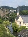 Saint john church in grund luxembourg near the river Stock Image