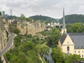 Saint john church in grund luxembourg near the river Stock Images