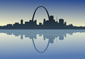 Saint louis downtown riverfront a silhouetted view of st missouri Royalty Free Stock Photo