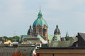 Saint lukas church and munich rooftops the domes of the lutheran Royalty Free Stock Image