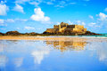 Saint malo fort national and beach low tide brittany france during europe Royalty Free Stock Photography