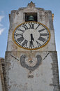 Saint mary church clock tower s in tavira algarve portugal Stock Image