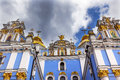 Saint michael cathedral spires kiev ukraine monastery steeples facade s is a functioning russian orthodox monastery Royalty Free Stock Photography