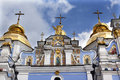 Saint michael monastery cathedral spires kiev ukraine steeples facade s is a functioning russian orthodox Royalty Free Stock Image