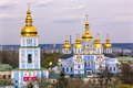 Saint michael monastery cathedral spires tower kiev ukraine steeples golden dome facade s is a functioning greek Stock Photography