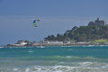 Saint michael mount cornwall england uk s bay beach and island by penzance coast britain kite surf Royalty Free Stock Photography