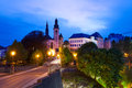 Saint Michael's Church at night in Luxembourg Royalty Free Stock Photo
