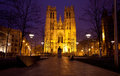 Saint miche cathedral brussels night scene Royalty Free Stock Photos