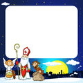 Saint Nicholas, devil and angel in town - vector illustration frame