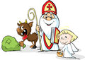 Saint Nicholas, devil and angel - vector illustration isolated on white