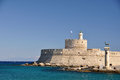 Saint Nicholas Fort, Rhodes and Rhodian deer statues Royalty Free Stock Photo