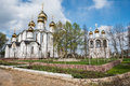 Saint Nicholas (Nikolsky) monastery from spring garden viewpoint Royalty Free Stock Photo