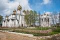 Saint Nicholas (Nikolsky) monastery from spring garden viewpoint Royalty Free Stock Photo