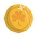 Saint patrick day golden coin shamrock icon