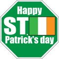 saint patrick day green sign white background