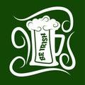 Saint Patrick day symbol of green ale beer mug. Royalty Free Stock Photo