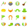 Saint Patrick items icons set, cartoon style