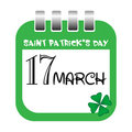 Saint Patrick's Day calendar tab Royalty Free Stock Photo