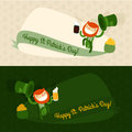 Saint patrick s day card flat cartoon patrick template vector illustration Stock Image