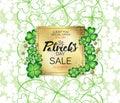 Saint Patrick`s Day sale banner, advertising, vector illustration