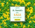 Saint Patrick`s Day Vertical Border with Green and Gold, Four and Tree Leaf Clovers on White Background. Vector