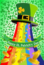 Saint patrick s hat golden coins background illustration featuring leprechaun tophat from which rainbow and are spilled for st Stock Photography