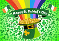 Saint patrick s leprechaun hat background illustration featuring upturned at the end of the rainbow with flags of ireland for st Royalty Free Stock Image