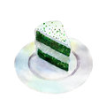 Saint Patricks day cake, watercolor illustration in hand-drawn style.
