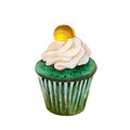 Saint Patricks day cupcake with coin, watercolor illustration in hand-drawn style.