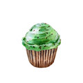 Saint Patricks day cupcake, watercolor illustration in hand-drawn style isolated.