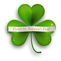 Saint Patricks Day greeting card, realistic shamrock leaf isolated on white