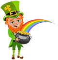Saint Patricks Day Leprechaun Holding Pot of Gold Stock Image