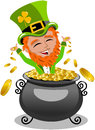 Saint patricks day leprechaun inside pot of gold illustration featuring st or patrick s exulting isolated on white background eps Royalty Free Stock Image