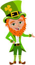 Saint patricks day leprechaun presenting illustration featuring st or patrick s something isolated on white background eps file Stock Photography