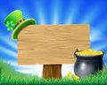 Saint patricks day leprechaun sign a st patrick s illustration with hat and a pot of gold Royalty Free Stock Photos