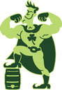 Saint patricks day superhero super hero man powered by beer showing his muscles his foot up on a keg and a clover on his chest Stock Photos