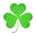 Saint Patricks Day symbol, glitter shamrock leaf isolated on white