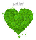 Saint Patricks Day vector design element. Green heart of the lucky clover or shamrock isolated on white background