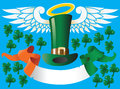 Saint Patricks hat with wings and banner Stock Photos