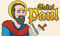 Saint Paul Portrait with Writings in Paper and Sword, Vector Illustration