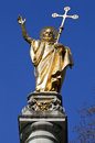 Saint paul statue at st pauls cathedral in london the beautiful situated on column outside s Royalty Free Stock Photography