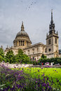 Saint pauls cathedral in london england the dome and tower of Royalty Free Stock Photography