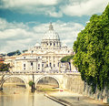 Saint peter cathedral rome italy view of and bridge angel Royalty Free Stock Images