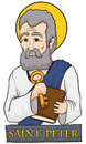 Saint Peter Holding a Book and Key with Stone Sign, Vector Illustration Royalty Free Stock Photo